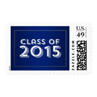 Bold Vintage Blue Gold 2015 Graduation Stamps