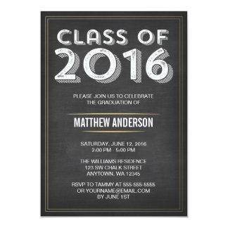 Bold Vintage Chalkboard Faux Gold 2016 Graduation Card