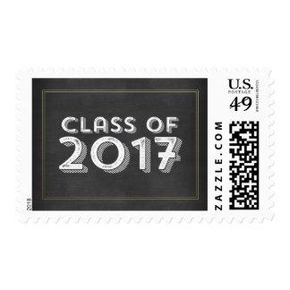 Bold Vintage Chalkboard Faux Gold 2017 Graduation Postage