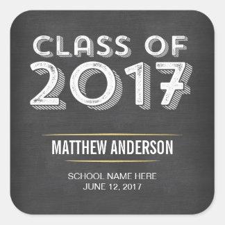 Bold Vintage Chalkboard Faux Gold 2017 Graduation Square Sticker