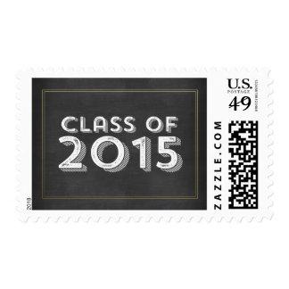 Bold Vintage Chalkboard Gold 2015 Graduation Stamps