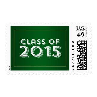 Bold Vintage Green Gold 2015 Graduation Postage Stamps