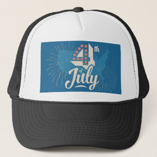 Bold vintage text July 4th independence red blue Trucker Hat
