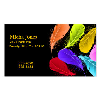 Bold Vivid Wild Colored Feathers On Black Business Card Templates