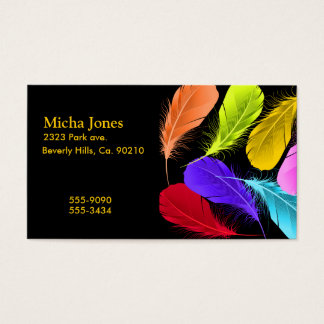 Bold Vivid Wild Colored Feathers On Black Business Card