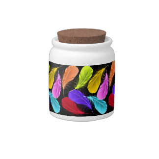 Bold Vivid Wild Colored Feathers On Black Candy Jars