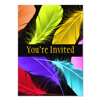 Bold Vivid Wild Colored Feathers On Black Card