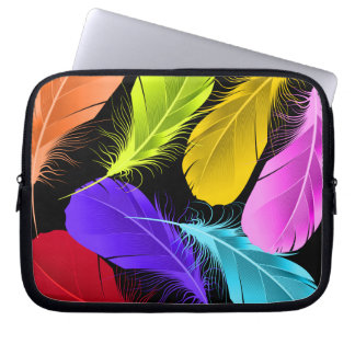 Bold Vivid Wild Colored Feathers On Black Laptop Sleeve
