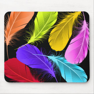 Bold Vivid Wild Colored Feathers On Black Mouse Pad