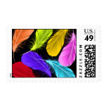 Bold Vivid Wild Colored Feathers On Black Postage
