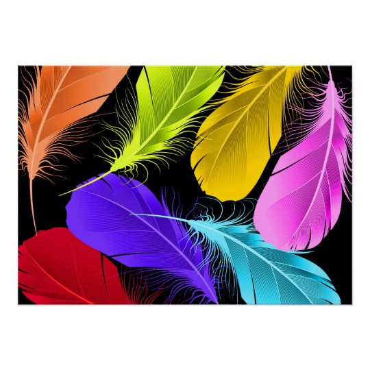 Bold Vivid Wild Colored Feathers On Black Poster