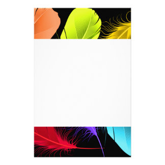 Bold Vivid Wild Colored Feathers On Black Stationery