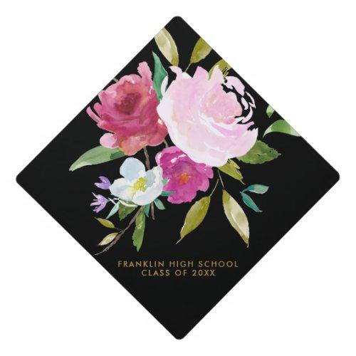 Bold Watercolor Floral Graduation Graduation Cap Topper