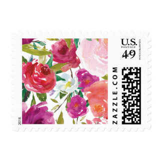 Bold Watercolor Floral Postage Stamp