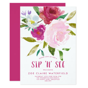 Bold Watercolor Floral Sip N See Invitation