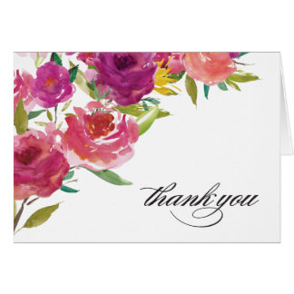 Bold Watercolor Floral Thank You Note Card