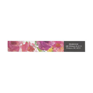 Bold Watercolor Floral Wrap Return Address Label