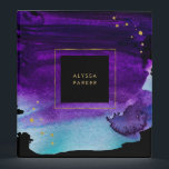 """Bold Watercolor Splash with Faux Gold Look Accents Binder<br><div class=""""desc"""">This glam,  dramatic binder features a vivid purple and blue watercolor splash on a black background,  with faux gold look accents.</div>"""