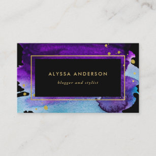 Purple and gold business cards templates zazzle bold watercolor splash with faux gold look accents business card colourmoves
