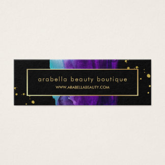 Bold Watercolor Splash with Faux Gold Look Accents Mini Business Card