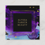 """Bold Watercolor Splash with Faux Gold Look Accents Square Business Card<br><div class=""""desc"""">This glam,  dramatic business card features a vivid purple and blue watercolor splash on a black background,  with faux gold look accents. Perfect for any modern glam business such as makeup,  beauty,  hair,  and fashion.</div>"""