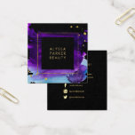 "Bold Watercolor Splash with Faux Gold Look Accents Square Business Card<br><div class=""desc"">This glam, dramatic business card features a vivid purple and blue watercolor splash on a black background, with faux gold look accents. The back also contains social media icons (you can easily delete any icon you don&#39;t need.) Perfect for any modern glam business such as makeup, beauty, hair, and fashion....</div>"