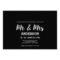 Bold white black handwritten script MR MRS wedding Invitation