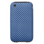 Bold White Circles on Navy Pattern Tough iPhone 3 Cases