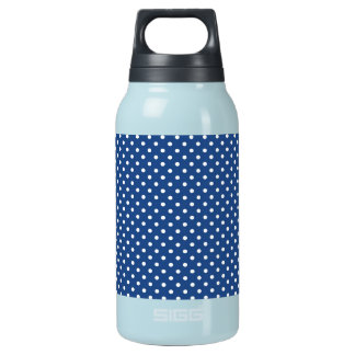 Bold White Circles on Navy Pattern Insulated Water Bottle