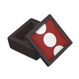 Bold White Circles on Red Gift Box