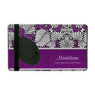 Bold White Fronds with Purple Flowers iPad Cover