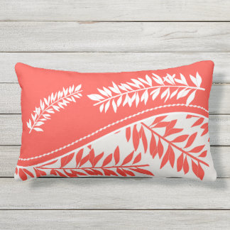Bold White Leafy Stems in Coral and Golden Yellow Outdoor Pillow