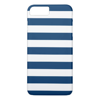 Bold White Navy Blue Stripes iPhone 7 Plus Case