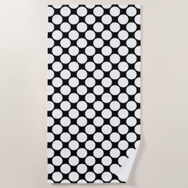 Beach Themed Bold White Polka Dots on Black Beach Towel