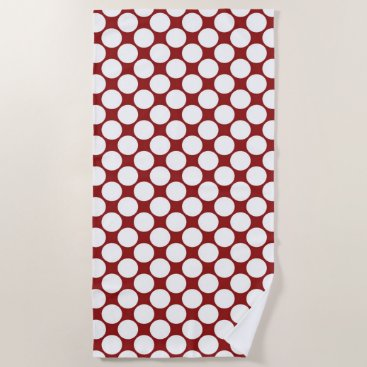 Beach Themed Bold White Polka Dots on Red Beach Towel