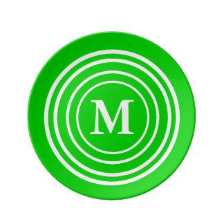 Bold White Rings on Summer Green Monogram Plate