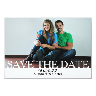 Bold White SAVE THE DATE PHOTO - 3x5 Announcement