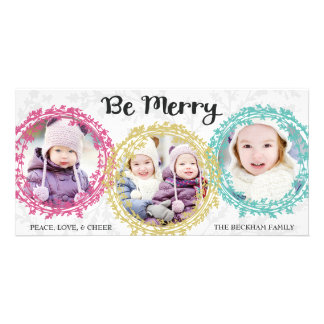 Bold Wreaths Three Photo Holiday Photo Card