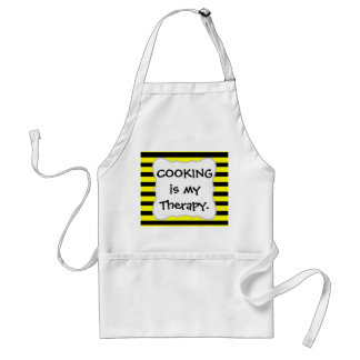 Bold Yellow and Black Bumble Bee Striped Pattern Adult Apron