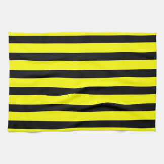 Bold Yellow And Black Bumble Bee Striped Pattern Kitchen Towel