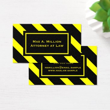 Lawyer Themed Bold Yellow and Black Diagonal Stripes Pattern Business Card