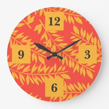 Beach Themed Bold Yellow and Coral Orange Palm Fronds Large Clock