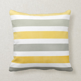 Bold Yellow and Gray Wide Stripes Throw Pillow