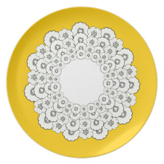 Bold Yellow, Back and White Floral Pattern Plate