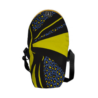 Bold Yellow Blue Abstract Zebra Leopard Print Courier Bag