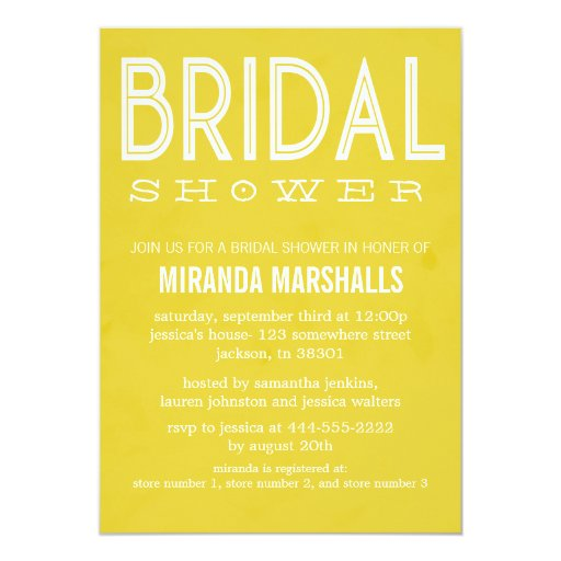 Bold yellow bridal shower invitations zazzle for Yellow bridal shower invitations