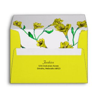 Bold Yellow Clematis Watercolor Floral Wedding Envelope