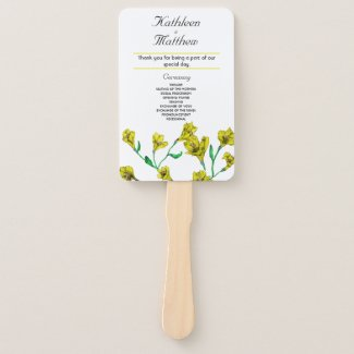 Bold Yellow Clematis Watercolor Floral Wedding Hand Fan