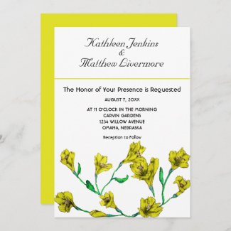 Bold Yellow Clematis Watercolor Floral Wedding Invitation