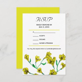 Bold Yellow Clematis Watercolor Floral Wedding RSV RSVP Card